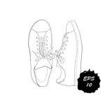 Illustration des chaussures graphiques tirées par la main d'hommes et de femmes, chaussures Style occasionnel et de sport des cha Images libres de droits
