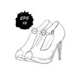 Illustration des chaussures graphiques tirées par la main de femmes, chaussures Griffonnage, objet d'isolement par conception de  Image stock