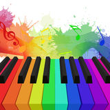 Illustration des clés de piano colorées par arc-en-ciel Photo stock