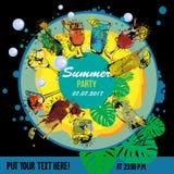 Illustration des Cocktailparty-Plakatdesigners Schablone für Barkarte Alkohol, Sommergetränke Spray, Stellenaquarell Lizenzfreie Stockfotos