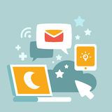 Illustration des communications et travail la nuit illustration stock