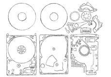 Illustration des componets magnétiques d'un lecteur de disque dur illustration de vecteur