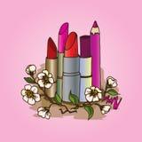 Illustration des cosmétiques Crayons et rouges à lèvres pour le maquillage Photographie stock libre de droits