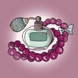 Illustration des cosmétiques Ensemble de parfums et de perles Mode Photographie stock libre de droits