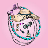 Illustration des cosmétiques, tous pour la beauté, accessoires Photographie stock