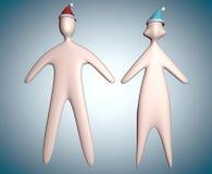 illustration des couples 3d dans corps de chapeau de Santa de Noël le plein illustration stock