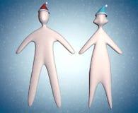 illustration des couples 3d dans corps de chapeau de Santa de Noël le plein avec des flocons de neige illustration libre de droits
