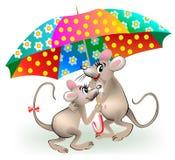 Illustration des couples des souris tenant le parapluie Photographie stock libre de droits