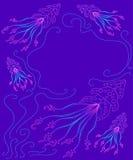 Illustration des créatures fantastiques d'océan, contour au néon de couleur Illustration Stock