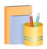 Illustration des crayons et des livres Photos stock