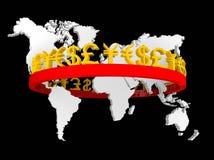 Illustration des devises commerciales autour du monde Photographie stock