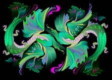 Illustration des dragons fantastiques de royaume des fées de couples Photographie stock libre de droits