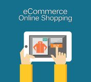 Illustration des elektronischen Geschäftsverkehrs On-line-Einkaufsillustration Flaches Design Stockfotos
