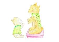 Illustration des Elternteilbären und -kindes, die miteinander erreichen Stock Abbildung