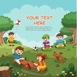 Illustration des enfants enthousiastes heureux ayant l'amusement ensemble Photo libre de droits