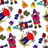 Illustration des enfants et de l'amusement d'hiver Les vêtements lumineux d'hiver Photographie stock libre de droits