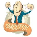 Illustration des Erfolgsgeschäftsmannes übergibt oben Flache Illustration der Karikatur Lizenzfreies Stockfoto