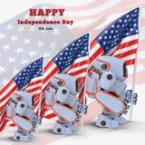 Illustration des Etats-Unis 3d de robot Photographie stock