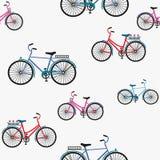 Illustration des Fahrrades, fahrend auf das Fahrrad, Vektorillustration Nahtloses Muster stock abbildung