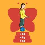 Illustration des femmes sur la planche à roulettes Type de dessin animé Photographie stock libre de droits