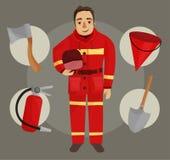 Illustration des Feuerwehrmannes stock abbildung