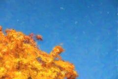 Illustration des feuilles d'automne avec le fond de ciel bleu illustration de vecteur