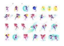 Illustration des filles et des garçons Entreprises et démarrages de la génération plus jeune Illustration plate de gradient de ve photo libre de droits