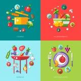 Illustration des flachen Designlebensmittels, Früchte und Stockfotos