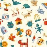 Illustration des flachen Designmusters mit Haustieren Lizenzfreie Stockbilder