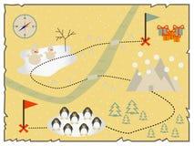 Illustration des flachen Designs der kreativen Schatzkarte Lizenzfreie Stockbilder