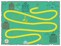 Illustration des flachen Designs der kreativen Schatzkarte Stockfotos