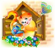 Illustration des fleurs de arrosage de petit chaton Image stock