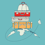 Illustration des Fliegenpapierflugzeugs um Reise Lizenzfreies Stockfoto