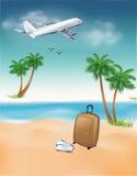 Illustration des Flugzeuges auf einem Hintergrundhimmel und -palmen mit einem Koffer Lizenzfreie Stockfotografie
