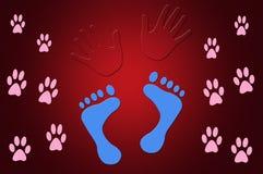 Illustration des Fuß-Druck-und Handabdrücke-Rot-Hintergrundes Lizenzfreie Stockbilder