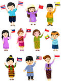 Illustration des garçons et des filles réglés d'isolement du pays de l'ASEAN Photo stock