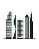 Illustration des Gebäudelogodesigns auf weißem Hintergrund Lizenzfreie Stockbilder