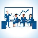Illustration des Geschäftsmannes Addressing Board Meeting Stockfotos