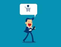 Illustration des Geschäftsmannverkaufs und -kaufes unter Verwendung der Anwendung Stockfotos
