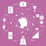 Illustration des Geschäftsprozesses, der Planung, der Strategie, der Finanzierung und der Investition, Geschäftserfolg Lizenzfreies Stockfoto