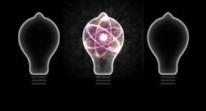 Illustration des Glühlampen-Atom-3D Lizenzfreie Stockbilder