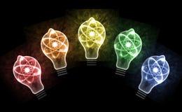 Illustration des Glühlampen-Atom-3D Stockfotografie