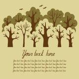 Illustration des grünen Laubwaldes mit einem Winkel des Leistungshebels Lizenzfreies Stockfoto