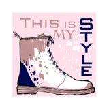 Illustration des Gussplakats mit Winterfrauenschuhen Grafische Draufsichtschuhe für Frau und Dame Modedesign für Lizenzfreies Stockbild