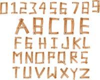 Illustration des hölzernen Alphabetes A bis Z und Zahlen stellte 0 bis 9 ein Stockbild