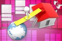 Illustration des Hauses 3d und der Erde Lizenzfreie Stockfotos