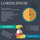Illustration des helthy Lebensmittels im flachen Design auf Hintergrund Stockfoto