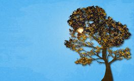 Illustration des Herbstbaums auf sonnigem Himmel des Hintergrundes mit Marmorpapiereffekt und des Raumes für Ihren Text Lizenzfreie Stockbilder