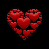 Illustration des Herzens 3D auf dem Schwarzen - lokalisiert Stockbilder