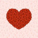Illustration des Herzens von den roten Rosen auf dem Hintergrund gemacht vom Stift vektor abbildung